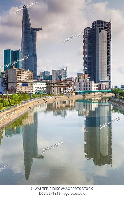 Vietnam, Ho Chi Minh City, city view with Bitexco Tower along the Ben Nghe Canal