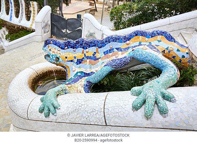 "Salamander sculpture (aka ""Drac"" or ""Dragon"" ). Park Güell by Antonio Gaudí. Barcelona. Catalonia. Spain"