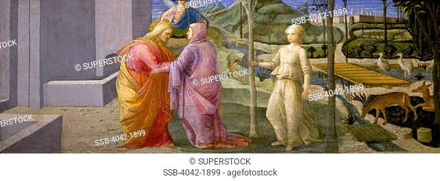 The Meeting at the Golden Gate by Fra Filippo Lippi, circa 1440,England, Oxford, Oxford University, Ashmolean Museum