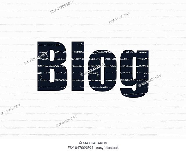 Web design concept: Painted black text Blog on White Brick wall background
