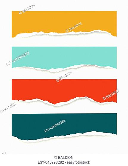 Four torn sheets of paper of different colors with shadow, isolated on a white background, suitable for infographics - vector
