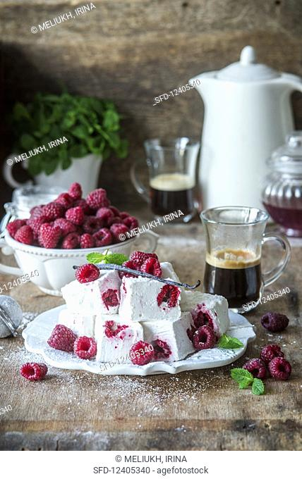 Homemade marshmallows with raspberries