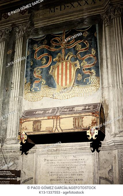 Painted wooden tombs of Ramón Berenguer and Almodis de la Marca in the Santa Eulàlia cathedral  Barcelona  Spain