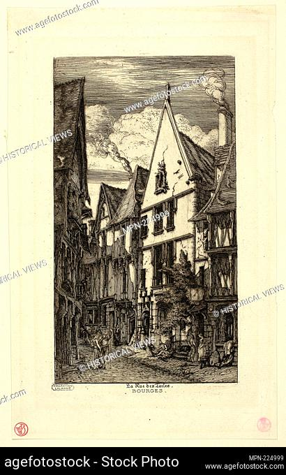 Rue des toiles, Bourges - Charles Meryon French, 1821-1868 - Artist: Charles Meryon, Origin: France, Date: 1841-1868, Medium: Etching on paper