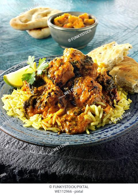 Chicken Sag Masala curry & rice, Indian food recipe