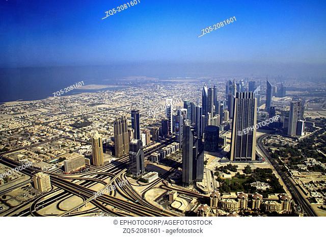 Dubai city view from observation deck of Burj Khalifa. Dubai UAE