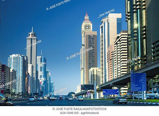 United Arab Emirates UAE , Dubai City ,Sheikh Zayed Avenue