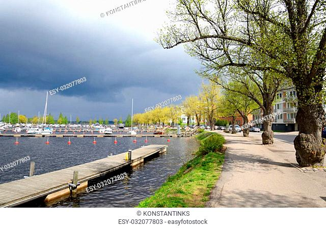 View of Saimaa lake and embankment in Lappeenranta. Lappeenranta - city and municipality in Finland, in the province of Eastern Finland