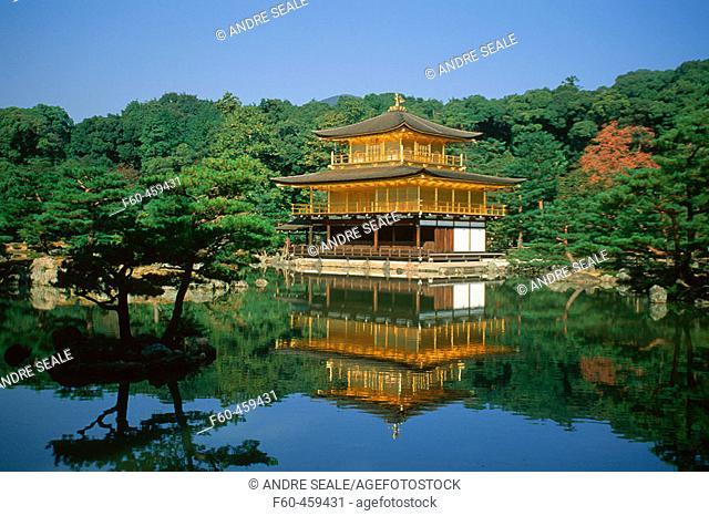 Kinkaku-ji or golden temple, originally built in 1397, Kyoto, Japan