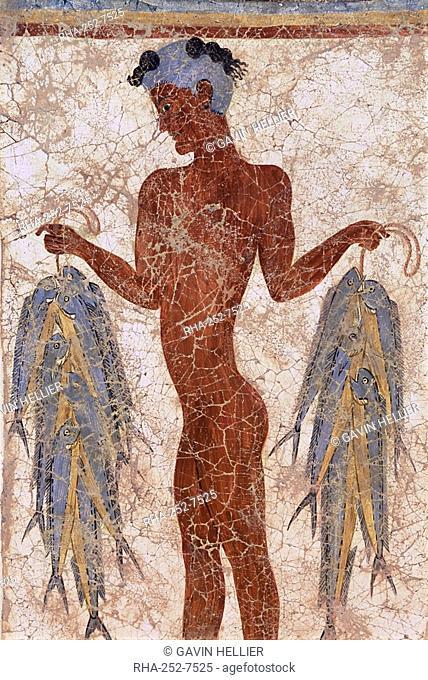Fresco of a fisherman from Akrotiri, dating from around 1600 BC, island of Santorini Thira, Cyclades, Greece, Europe