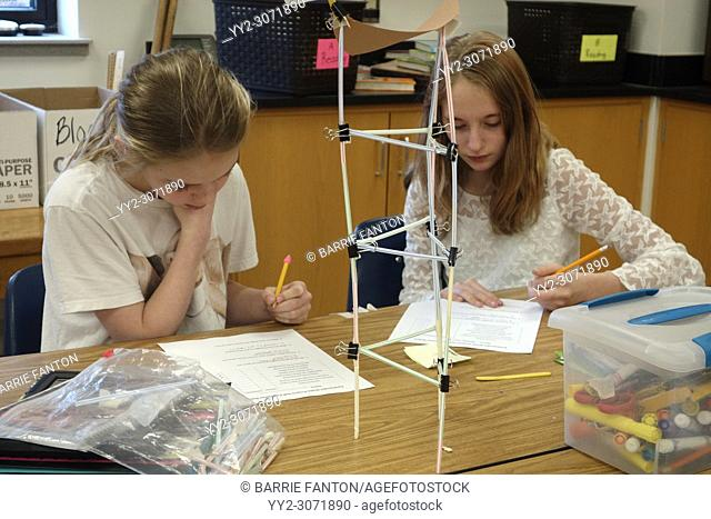 6th Grade Girls Building Model of Earthquake Resistant Structure, Wellsville, New York, USA