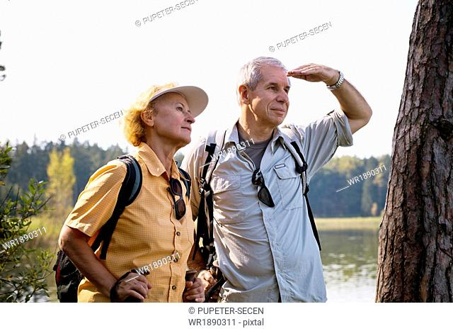 Senior couple Nordic Walking through forest, Osterseen, Germany