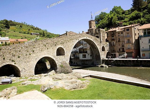 Pont Nou. Siglo XII. Rio Ter. Camprodón, Ripollés, Girona, Catalunya, España