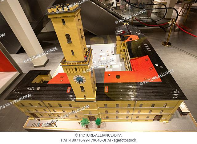 16 July 2018, Germany, Fuerth: A miniature recreation of Fuerth City Hall made out of Lego bricks on display in a shopping mall
