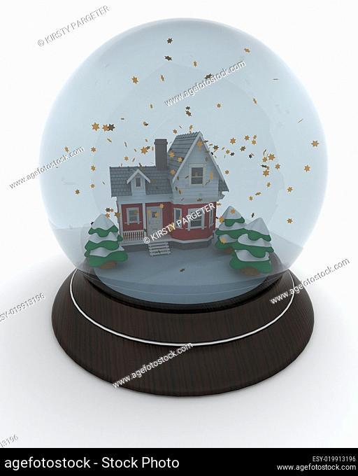 little house in winter snow globe