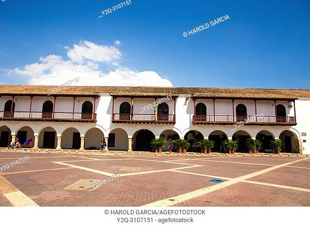 Plaza de la Aduana in the walled city of Cartagena, Colombia. South America.