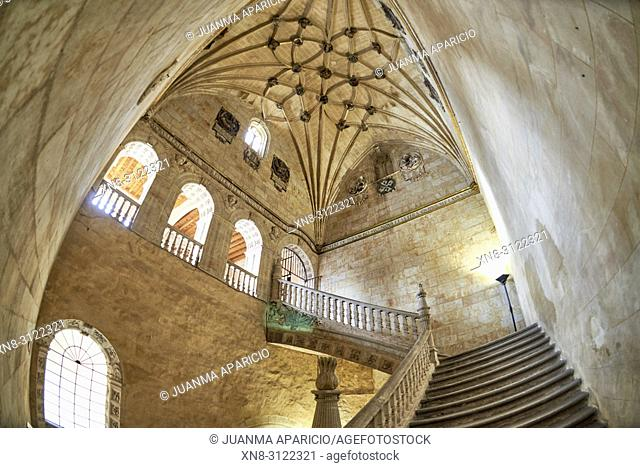 Convento de San Esteban in Salamanca, Spain. A Dominican monastery, the Convento de San Esteban (Saint Stephen) was built in 1524 on the initiative of Cardinal...
