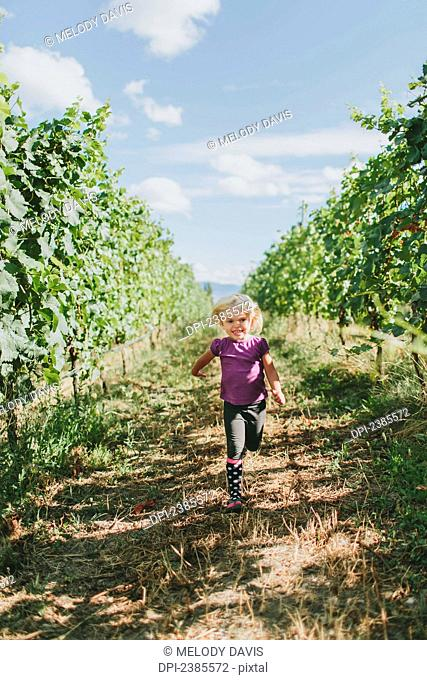 A young girl walks down a path between the rows of trees in an orchard; Peachland, British Columbia, Canada