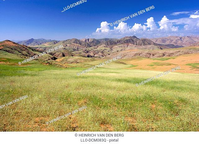 Scene of Kunene River valley. Near Kunene River with Angola mountains in background. Namibia