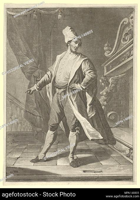 Man in Venetian costume standing before a large fireplace, right arm outstretched. Artist: Anonymous; Date: ca. 1770-1800; Medium: Etching and aquatint;...