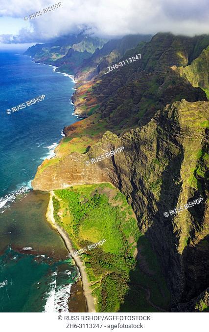 Nualolo Kai Beach and the Na Pali Coast (aerial), Nualolo Kai State Park, Kauai, Hawaii USA