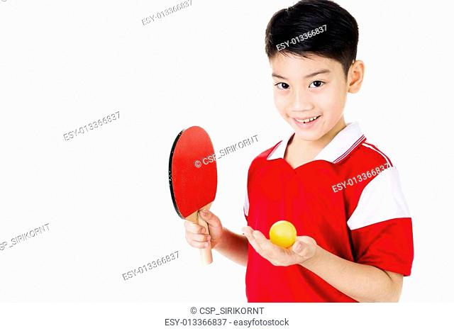 Portrait of Happy asian boy play table tennis