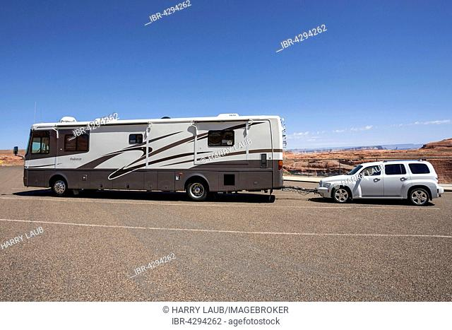 Large caravan with car attached, Lake Powell, Page, Arizona, USA