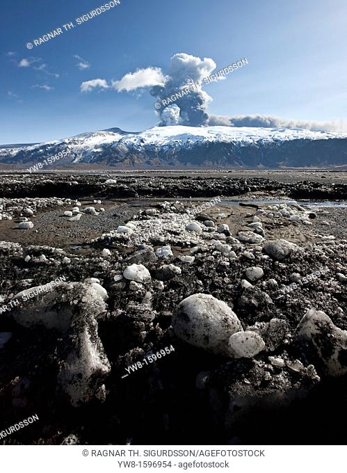 Blocks of ash and ice from the Eyjafjallajokull Volcanic Eruption, Iceland