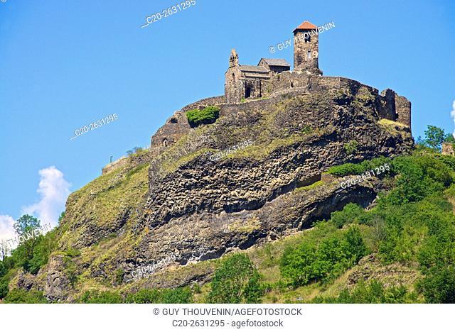 Medieval Castle 15th., and church saint Madeleine, Saint Ilpize village, 43, Haute Loire, France