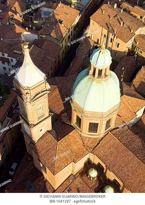 The dome of San Bartolomeo seen from the top of the Asinelli tower Bologna Emilia Romagna Italy