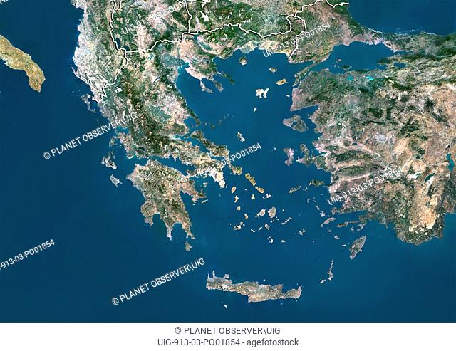 Satellite view of Greece with border. This image was compiled from data acquired by LANDSAT 5 & 7 satellites