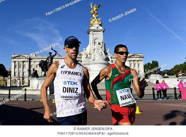 French athlete Yohann Diniz (L) and Mexican athlete Horacio Nava compete in the 50 kilometer marathon at the IAAF London 2017 World Athletics Championships in...