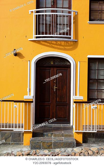 South Africa, Cape Town, Bo-kaap. Private House Door, Window, Balcony