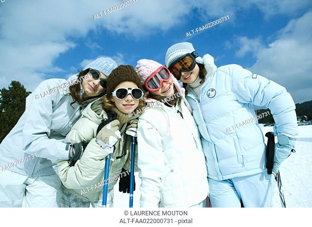 Group of teen girls in ski gear, portrait