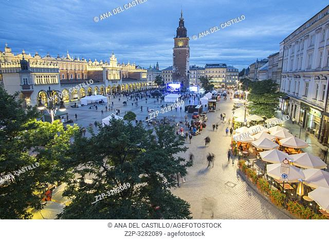 KRAKOW POLAND ON SEPTEMBER 23, 2018: Aerial view of The main square of the Old Town of Krakow, Lesser Poland