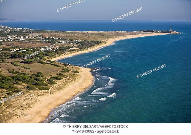 Zahora beach Caños de Meca with Trafalgar's lighthouse, aerial view Cadiz area Spain On the horizon line are the mountains fo Marroco
