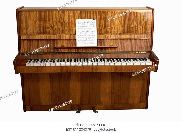 piano on white background with path