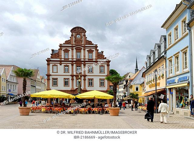 Maximiliamnstrasse, main street with Alte Muenze am Markt department store, Speyer, Rhineland-Palatinate, Germany, Europe
