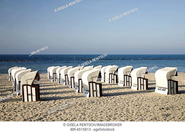 Beach chairs on the beach of Sellin, Rügen Island, Mecklenburg-Western Pomerania, Germany