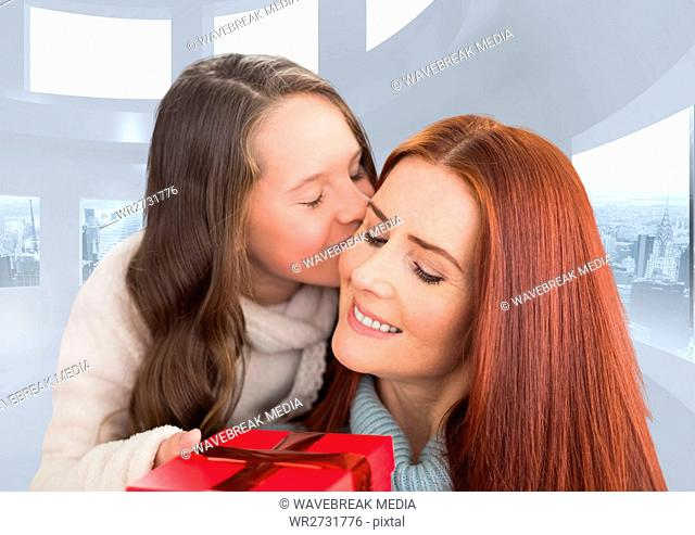 Composite image of girl kissing her mother against white modern room