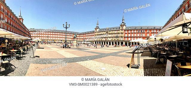 Plaza Mayor, panoramic view. Madrid, Spain