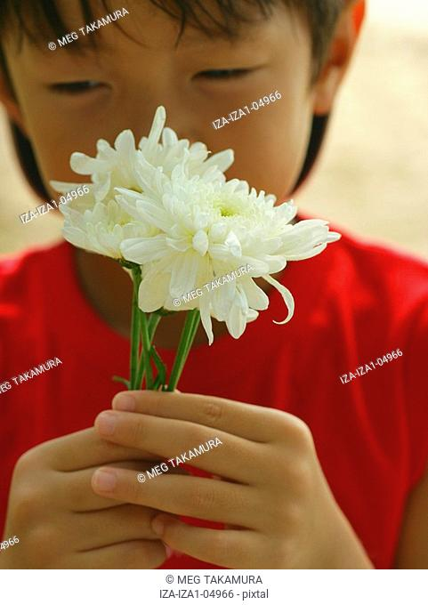 Portrait of a boy holding a flower and smiling