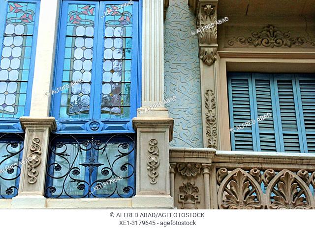 modernist windows and balconies, Eixample district, Barcelona, Catalonia, Spain