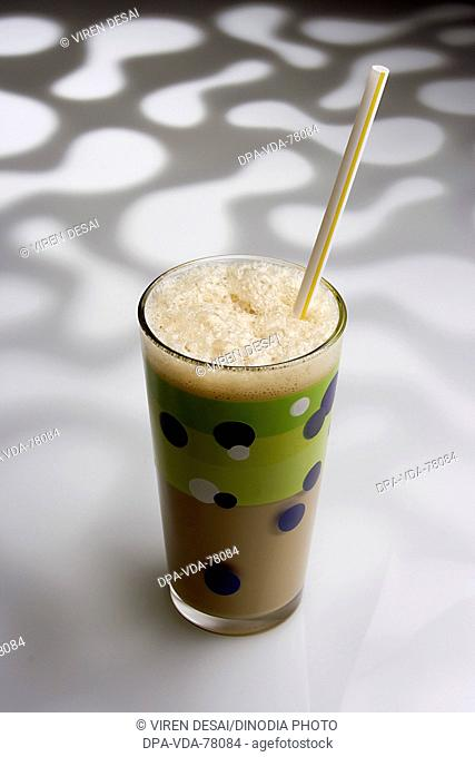 Drink , Cold coffee with straw against pattern white background