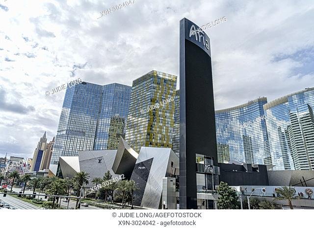 Las Vegas, NV, The Strip. Looking at the City Center Complex and Beyond. Las Vegas Boulevard on a Cloudy Day