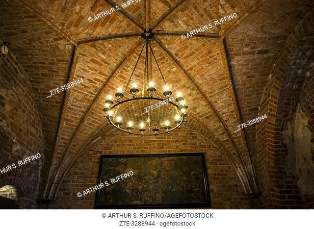 Chapel architecture. Trakai Island Castle, Lake Galve, Trakai, Lithuania, Baltic States, Europe