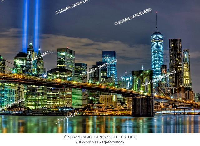 Brooklyn Bridge NYC 911 Tribute - The Brooklyn Bridge, and the lower Manhattan skyline during the September 11 Tribute In Lights memorial