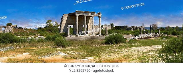 The Roman Ionic Stoa forms a colonnade 99 m long & 9 m high at the beginning of the Sacred Way to Didyma. An Ionic portica at its centre which served as a...