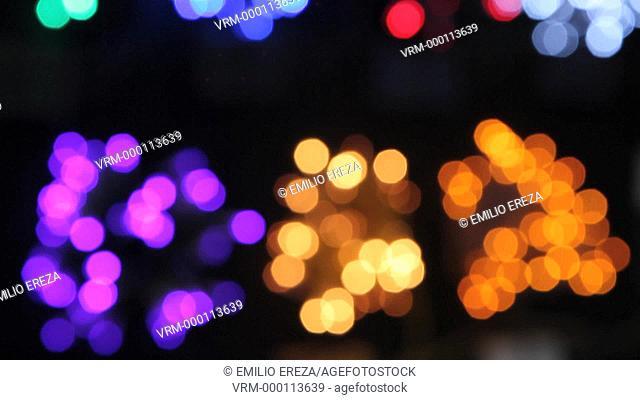 Christmas lights. Christmas market, Sagrada Familia, Barcelona, Catalonia, Spain