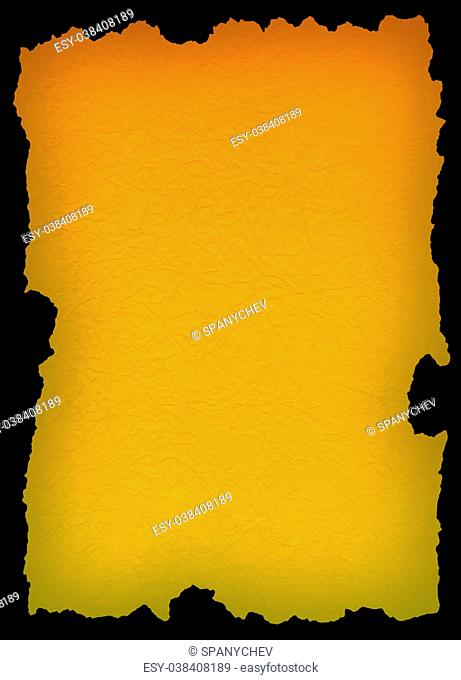yellow old paper over black background